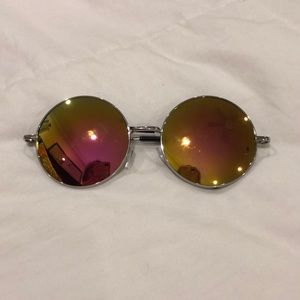 Pink and Yellow Reflective Sunglasses